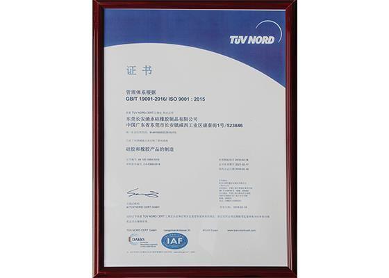 涌永荣誉:ISO9001:2015